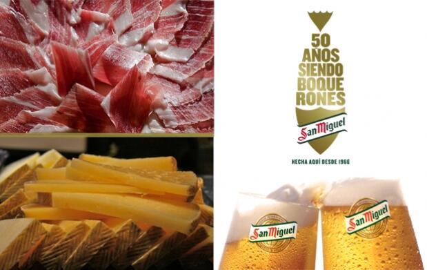 Disfruta con San Miguel de 2 cañas + plato de jamón o queso en la caseta Abanico