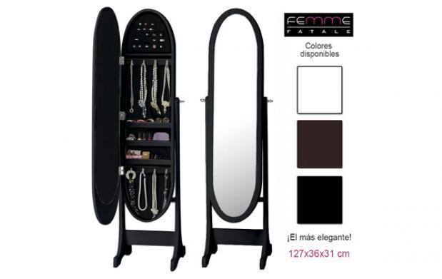 Espectacular espejo joyero ovalado
