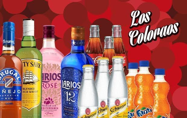Caseta Los Coloraos Botella y 12 refrescos