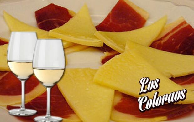 Caseta Los Coloraos botella vino dulce 75 cl+ Plato jamón + Plato queso