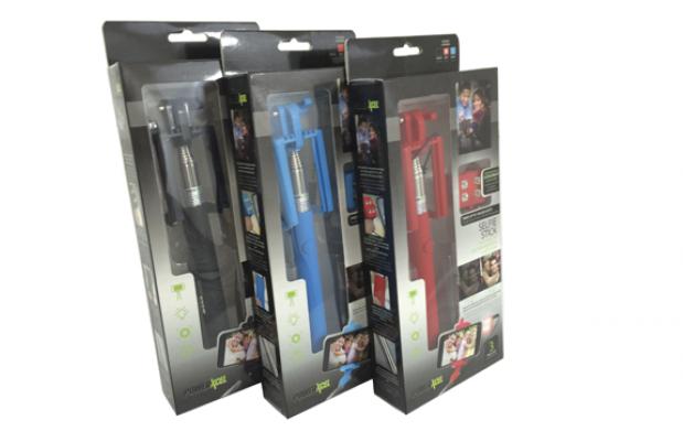 Palo selfie con disparador flash 4 LED
