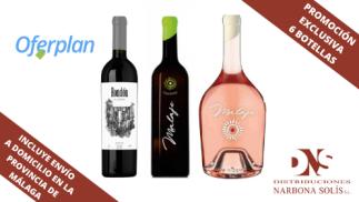 Pack seis botellas de vinos malagueños