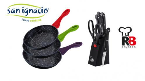 Juego sartenes San Ignacio + Tacoma de cuchillos con tijeras Renberg