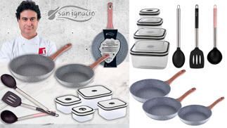 Set de 3 sartenes, 4 fiambreras y 3 utensilios colección Granito de San Ignacio