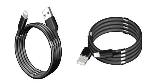 Pack 2 cables USB magnético y enrollable para carga y sincronización de smartphones