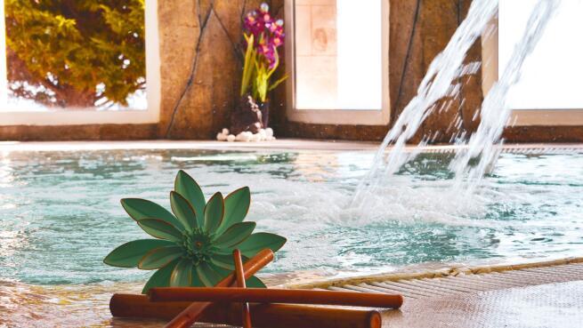 Plan para dos: Circuito hidrotermal + masaje con envoltura + menú La Viña de Ale