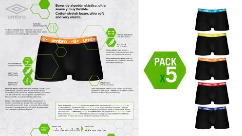 Pack 5 boxer UMBRO negros para hombre