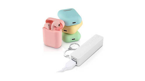 Auriculares INPODS de colores + power bank de colores
